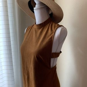 [Guess] Sienna Faux Suede Cut Out Dress Camel